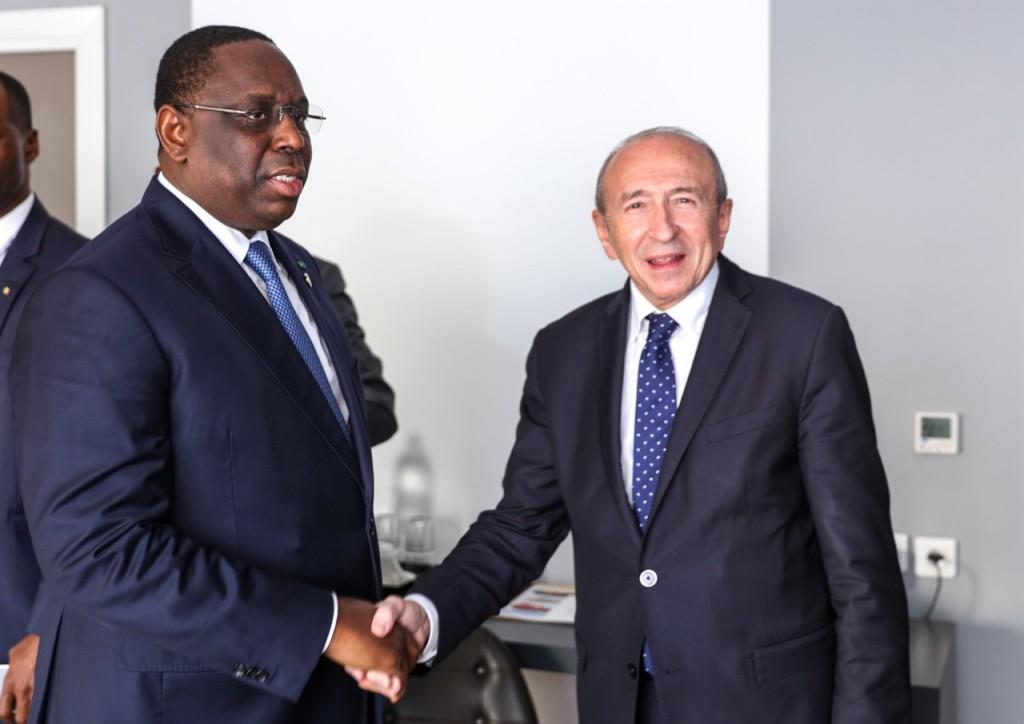 africaine union europenne le prsident de la rpublique sest entretenu avec m grard collomb ministre detat ministre de lintrieur franais